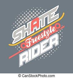 Tipografía de camiseta de Skate Rider