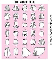 tipos, faldas, rosa, todos