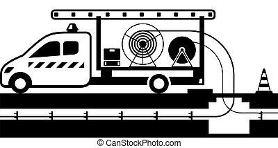 tipper, cables, camión, alambres