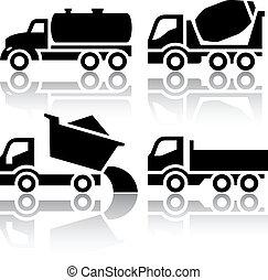 tipper, conjunto, iconos, -, batidora, concreto, transporte de camión