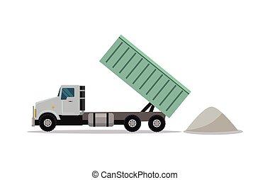 Tippers de construcción pesados con contenedores elevados