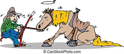 tirón, caballo, comienzo