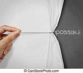 tirón, concepto, palabra, exposición, posible, mano, papel, transformado, arrugado, imposible