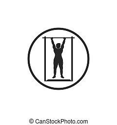 tirón, vector, ejercicio, ilustración, diseño, arriba, icono