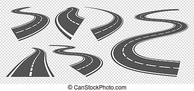 tira, conducción, asfalto, vector, o, vuelta, doblando, roads., perspectiva, camino, calles, carretera, conjunto, pathway., curva, gris