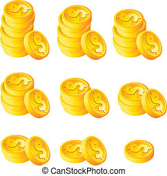 Tira monedas de oro