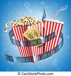 tira, película, boletos, soda, palomitas, bebida, cine