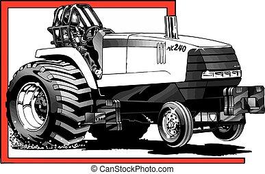 Tirando del tractor en acción