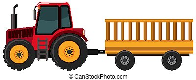 tirar, blanco, tractor, vagón, plano de fondo