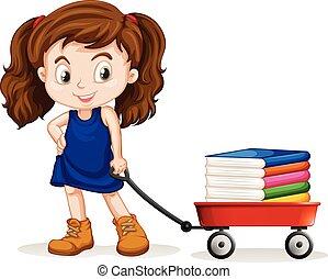 tirar, niña, libros, poco, carrito, lleno