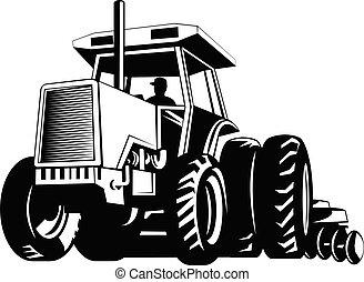 tirar, o, arado, negro, blanco, mientras, tractor, granja, arada, retro, arado
