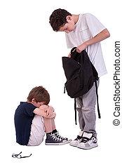 tiro, adolescente, aislado, intimidar, sufrimiento, estudio, blanco, niños