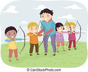 tiro al arco, lección, niños, stickman