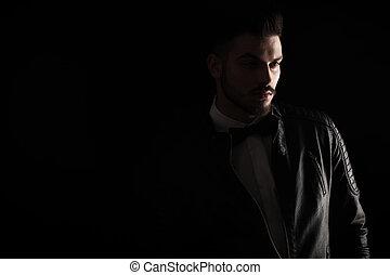 tiro, empresa / negocio, joven, oscuridad, estudio, hombre