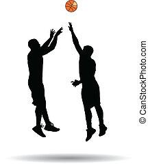 tiro, salto del básquetbol, jugador