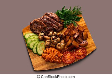 tiro, vegetales, fresco, filete, ensalada