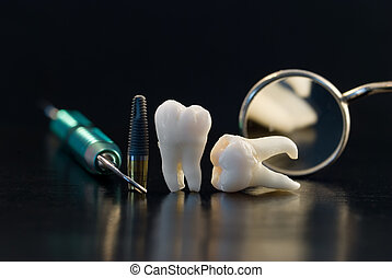 titanio, dental, implante