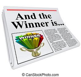 titular, anuncio, periódico, ganador, trofeo