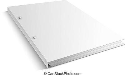 titular, -, cubierta, ilustración, vector, blanco, blanco, carpeta