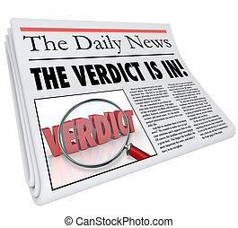 titular, periódico, veredicto, respuesta, juicio, anunciado