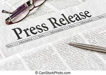 titular, prensa, periódico, liberación