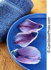 Toallas púrpuras y flores