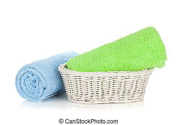 Toallas verdes y azules