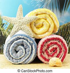 Toallas y estrellas de mar