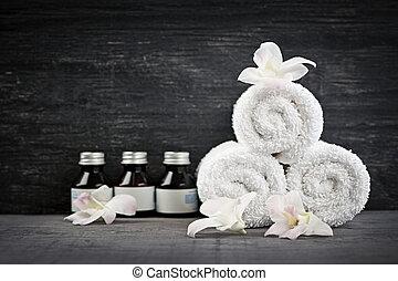 Toallas y productos en el spa