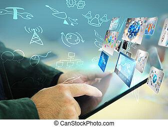 Tocar a mano las redes sociales, concepto de red social
