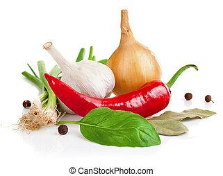 Todavía la vida del ajo de cebolla y pimienta