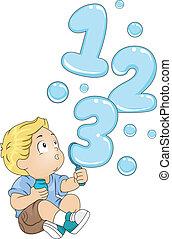 Todler con 123 burbujas