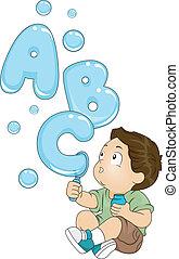 Todler con burbujas ABC
