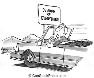 todo, tenga cuidado, señal de autopista