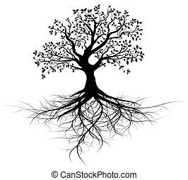 Todo vector de árbol negro con raíces