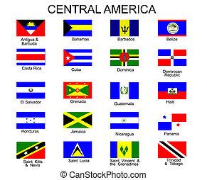 todos, américa, banderas, países, central, lista