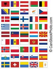 todos, conjunto, bandera, countries., europeo