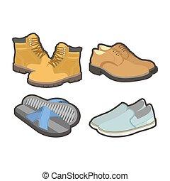 todos, conjunto, shoes, aislado, mens, ilustraciones, estaciones
