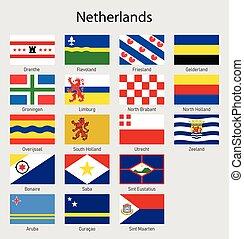 todos, países bajos, bandera holandesa, banderas, colección, regiones, provincias