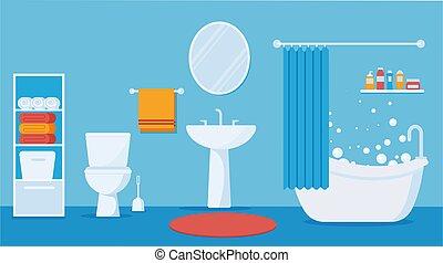 toilet., vector, plano, cuarto de baño, interior, moderno, ilustración