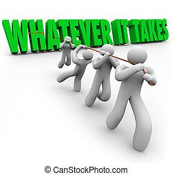 toma, gente, él, lo que, superación, obstáculo, tirar, palabras, equipo
