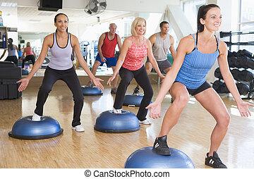 toma, instructor, clase gimnasio, ejercicio