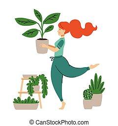 toma, loco, hands., bailando, mujer, houseplant., caricatura, lady., vector, ella, home., niña, haired, planta, cuidado, rojo, plano, ilustración, olla, moderno, flor trabajo, style.