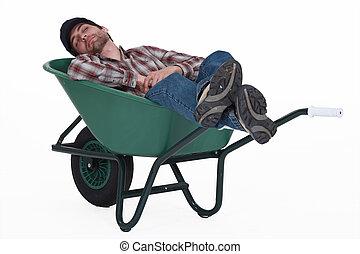 toma, trabajador, siesta, carretilla