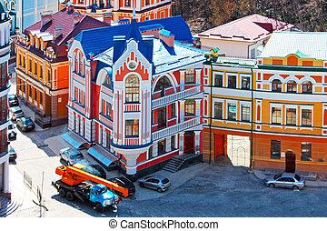 tomado, coloreado, beautiufl, edificios, kiev, primavera, ucrania