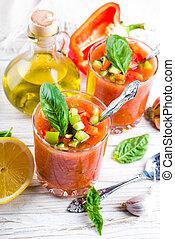 tomate, cocina, pimienta, sopa, español, gazpacho, ajo