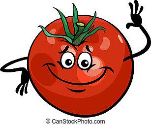 tomate, lindo, vegetal, caricatura, ilustración
