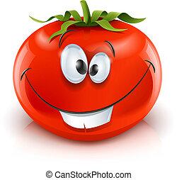 Tomate maduro y sonriente