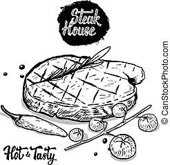 tomate, rosmarine, house., carne de vaca, mano, dibujado, cereza, filete