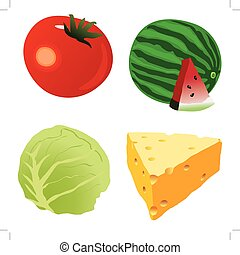 Tomate, tallo de col, queso, sandía, una toma madura roja